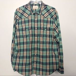 Lucky Brand Men XL Pearl Snap Shirt
